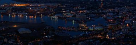 Panoramic urban skyline at night Royalty Free Stock Photos
