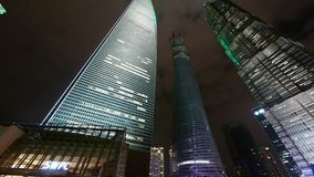 Panoramic of urban skyscraper at night,shanghai finance center. stock video footage