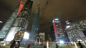 Panoramic of urban skyscraper,shanghai pudong business center at night. Gh2_07106 stock video footage