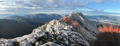 Panoramic of urkiola mountain range. Basque Country Stock Photography