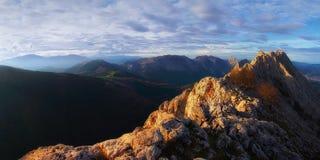 Panoramic of Urkiola mountain range. From Larrano royalty free stock photos