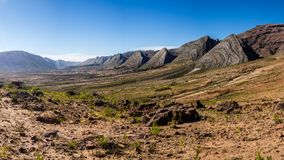 Panoramic of the valley of Toro Toro in Bolivia. Detail of the geological formations royalty free stock photo