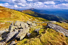 Panoramic valley which glow by sunlight. Fantastic landscape Royalty Free Stock Photo