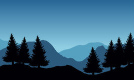 Panoramic vector illustration of mountain landscape with trees Royalty Free Stock Images