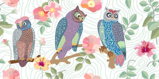 Panoramic vector patterns with owls, roses and branches. Royalty Free Stock Photography