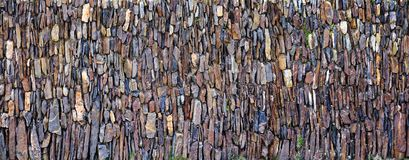 Panoramic vertical stones wall Royalty Free Stock Photo