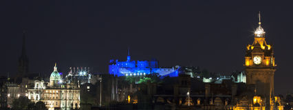 Panoramic vew on Edinburgh castle Stock Images