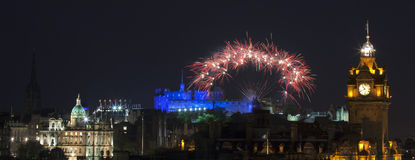 Panoramic vew on Edinburgh castle with fireworks Royalty Free Stock Images