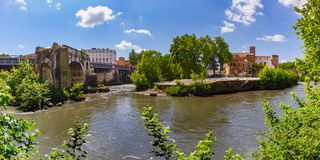 Tiber island in sunny day, Rome, Italy royalty free stock image