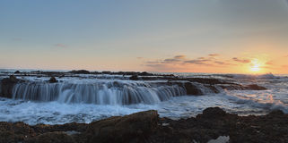Panoramic of Victoria beach rocks with water flowing Stock Photography