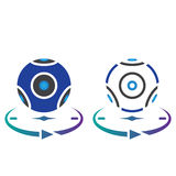 Panoramic video camera line icon, outline and solid vector sign, Royalty Free Stock Photography