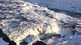 Frozen Gullfoss, Iceland, Europe stock video