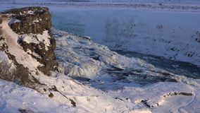 Frozen Gullfoss, Iceland, Europe stock video footage