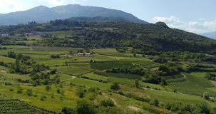 Panoramic video of Italian mountain valley with vineyard plantations stock video