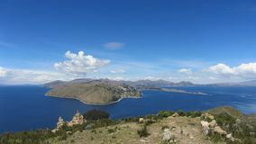 Panoramic vie of Lake Titicaca. Isla del Sol - Bolivia royalty free stock photo