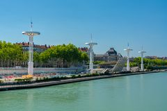 Panoramic vieux over the Rhone River in Lyon, France