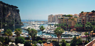 Panoramic Viev from Monaco Fontvieille Harbour Stock Photography