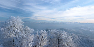 Panoramic view. Over the mountian ridge Uetliberg (Switzerland Royalty Free Stock Photography