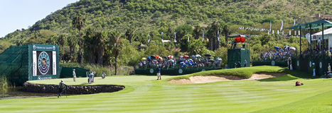 Panoramic view on the 17th Green. Panoramic view of the 17th green, from the fairway Stock Images