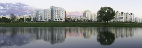 Panoramic View. One of the district in Moscow royalty free stock images