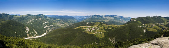 Panoramic view. Of a small village in the Rodopi mountain from Belentash Royalty Free Stock Photos