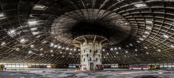 Panoramic view Abandoned bus depot with amazing construction cir Royalty Free Stock Photo