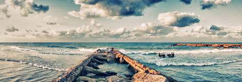 Panoramic view of abandoned pier in Guanabo beach, Havana, Cuba Royalty Free Stock Image