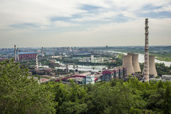 Panoramic view of a abandoned steel works Stock Image