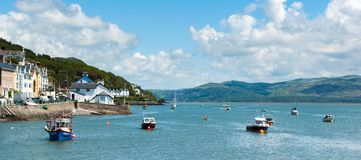 Aberdyfi harbour at high tide royalty free stock photography