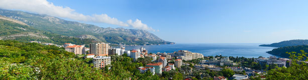 Panoramic view from above on Becici on Adriatic coast, Montenegr Royalty Free Stock Image