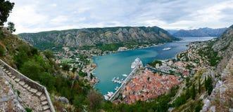 Panoramic view from above on Boka Kotorska Bay, Montenegro Royalty Free Stock Image