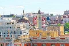 Panoramic view from above on the capital of Spain- the city of M Royalty Free Stock Photos
