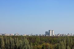 Panoramic view from above on Izmailovsky Park in Moscow Russia with gentle green trees, architecture and the horizon against the c stock photography