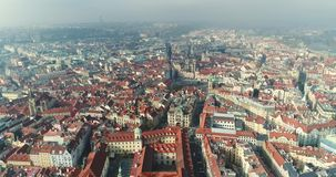 Panoramic view from above on the Prague Castle, aerial of the city, Old Town, Prague. Panoramic view from above on the Prague Castle, aerial of the city, view stock video footage