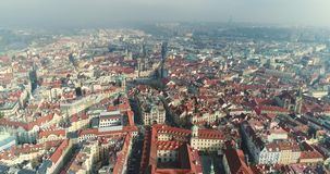 Panoramic view from above on the Prague Castle, aerial of the city, Old Town, Prague. Panoramic view from above on the Prague Castle, aerial of the city, view stock video
