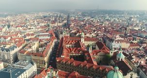 Panoramic view from above on the Prague Castle, aerial of the city, Old Town, Prague. Panoramic view from above on the Prague Castle, aerial of the city, view stock footage