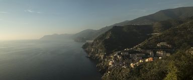 A Panoramic View Above Riomaggiore, Cinque Terre, Italy Royalty Free Stock Photography