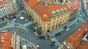 Panoramic view from above of the roofs of buildings and Church of St. Thomas in Prague from the top of St Nicholas Bell. Tower stock video footage