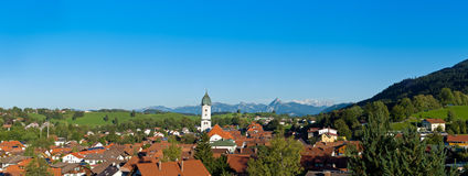 Panoramic view above the roofs of Pfronten Royalty Free Stock Photography