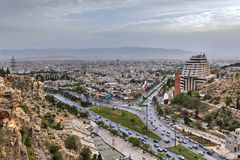 Panoramic view from above to Shiraz before sunset, Iran. Stock Photo