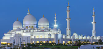Panoramic view of Abu Dhabi Sheikh Zayed Mosque by night Royalty Free Stock Images
