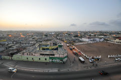 Panoramic View of Accra, Ghana. In the evening from the Jamestown Lighthouse stock image