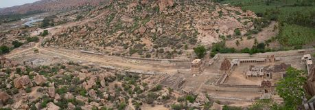 Panoramic View of Achaturaya temple from the top of Matanga Hill, Hampi.  royalty free stock images