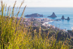 Panoramic view of Acitrezza from Acicastello Royalty Free Stock Image