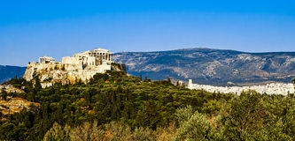 The Panoramic View of Acropolis and Parthenon Stock Photos
