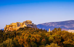 The Panoramic View of Acropolis and Parthenon Royalty Free Stock Photography