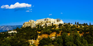 The Panoramic View of Acropolis and Parthenon Stock Images
