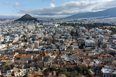 Panoramic view from Acropolis to city of Athens, Attica Royalty Free Stock Photography