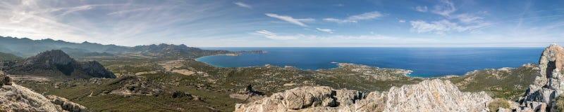 Panoramic view across Calvi Bay and Revellata in Corsica Royalty Free Stock Photo