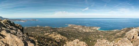 Panoramic view across Calvi Bay and Revellata in Corsica Stock Image
